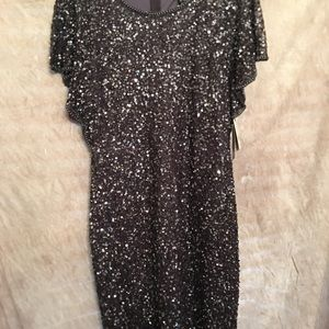 Adrianna Papell Dresses - Adrianna Papell flutter sleeve beaded dress Sz 14